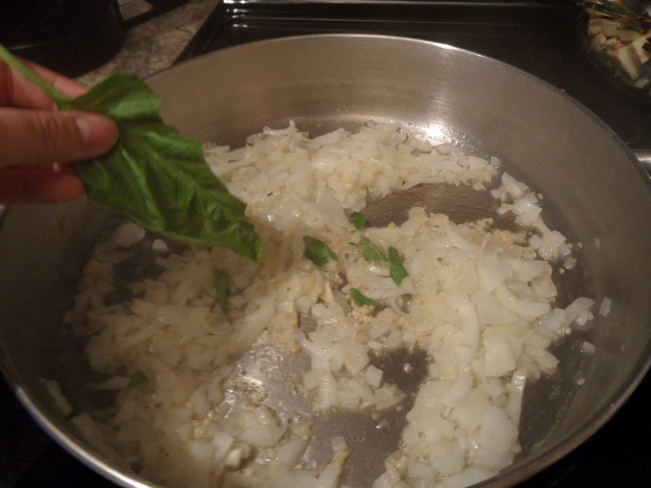 "Hand-Tearing Fresh Basil for Vegan Eggplant ""Meat""balls"
