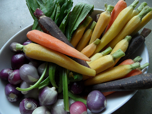 Raw Rainbow Baby Carrots, Red Pearl Onions and Culantro for Vegan Italian Polenta with Braised Vegetables